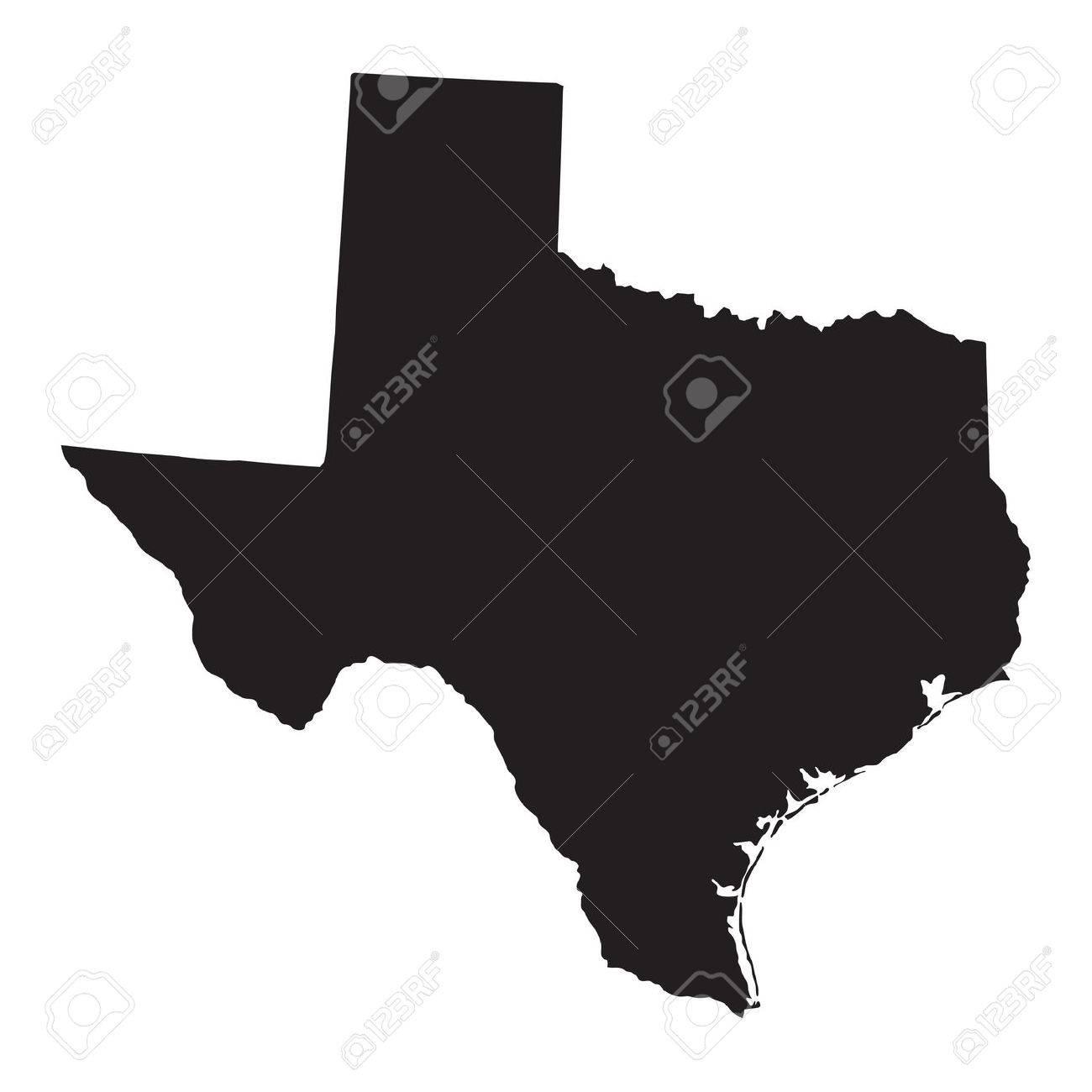 carte en noir du Texas Banque d'images - 36292373