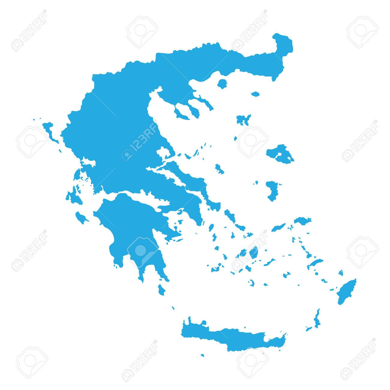 blue map of Greece - 36512020