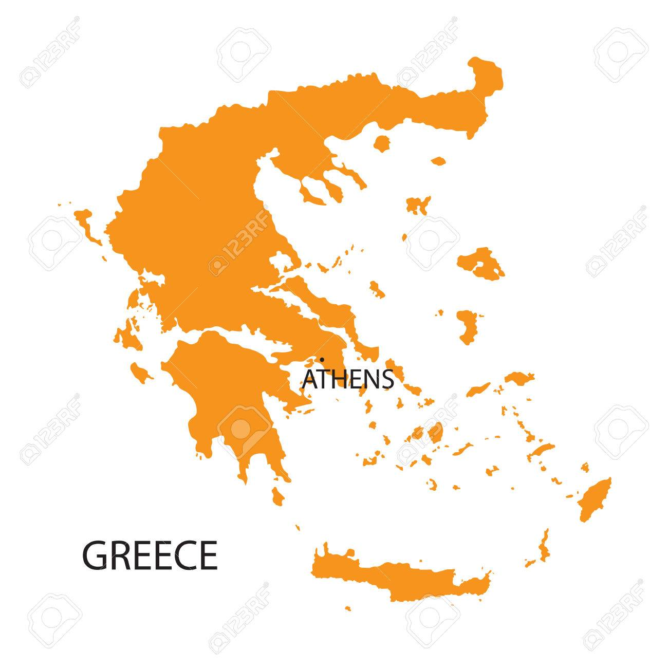 orange map of Greece - 36512022