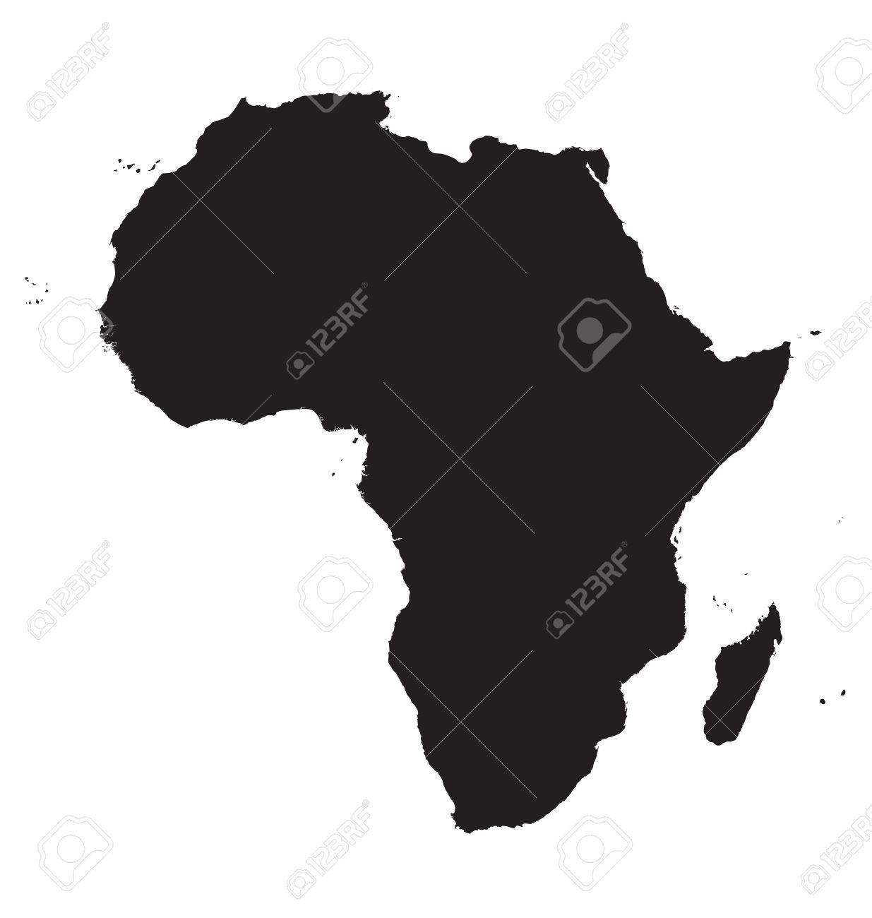 Black Map Of Africa Royalty Free Cliparts, Vectors, And Stock