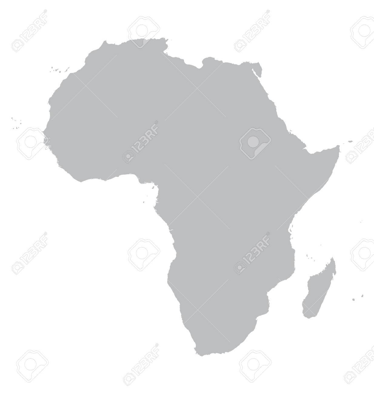 Grey Map Of Africa Royalty Free Cliparts, Vectors, And Stock