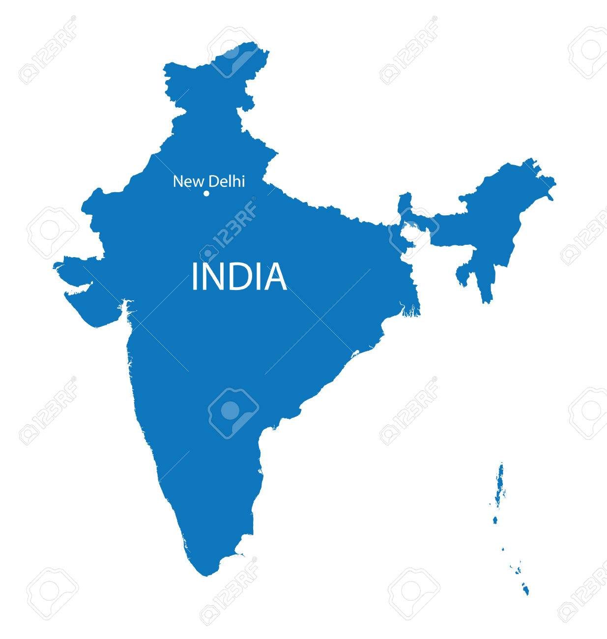 blue map of India - 36630263