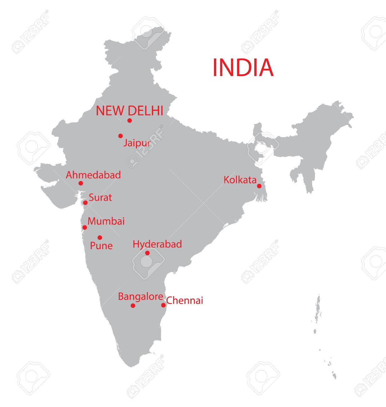 Grey Map Of India With Indication Of Largest Cities Royalty Free ...