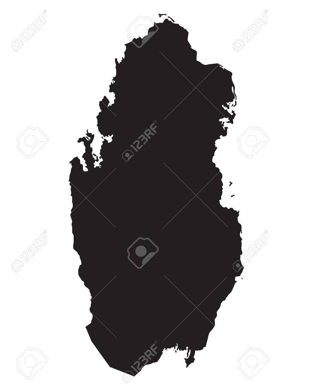 black map of Qatar
