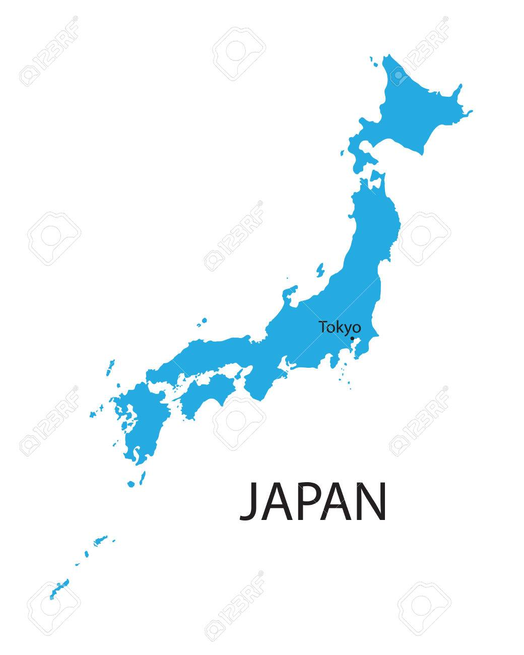 Blue Map Of Japan With Indication Of Tokyo Royalty Free Cliparts