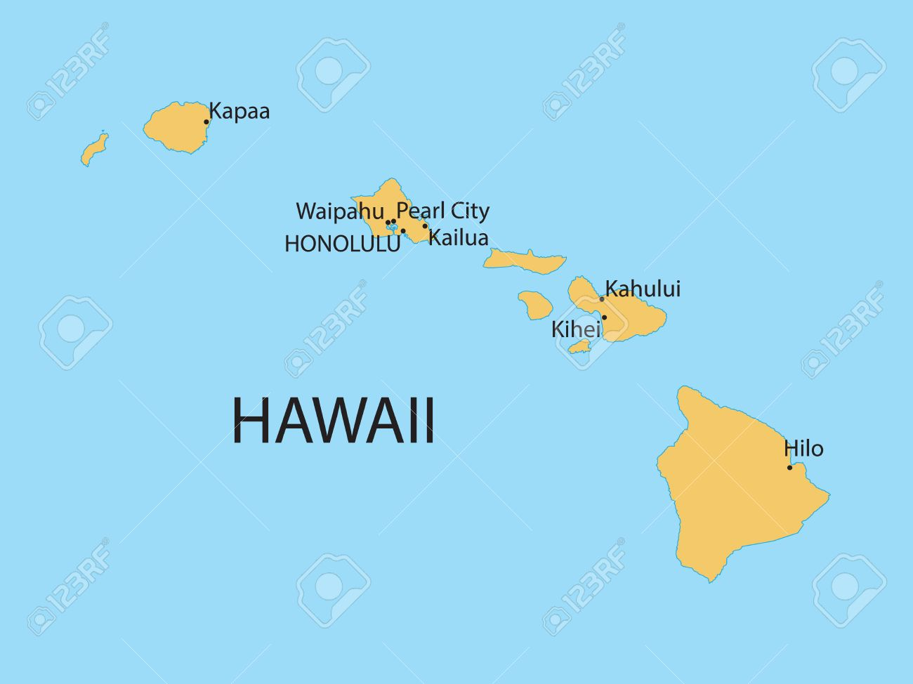 Yellow Map Of Hawaii Royalty Free Cliparts Vectors And Stock
