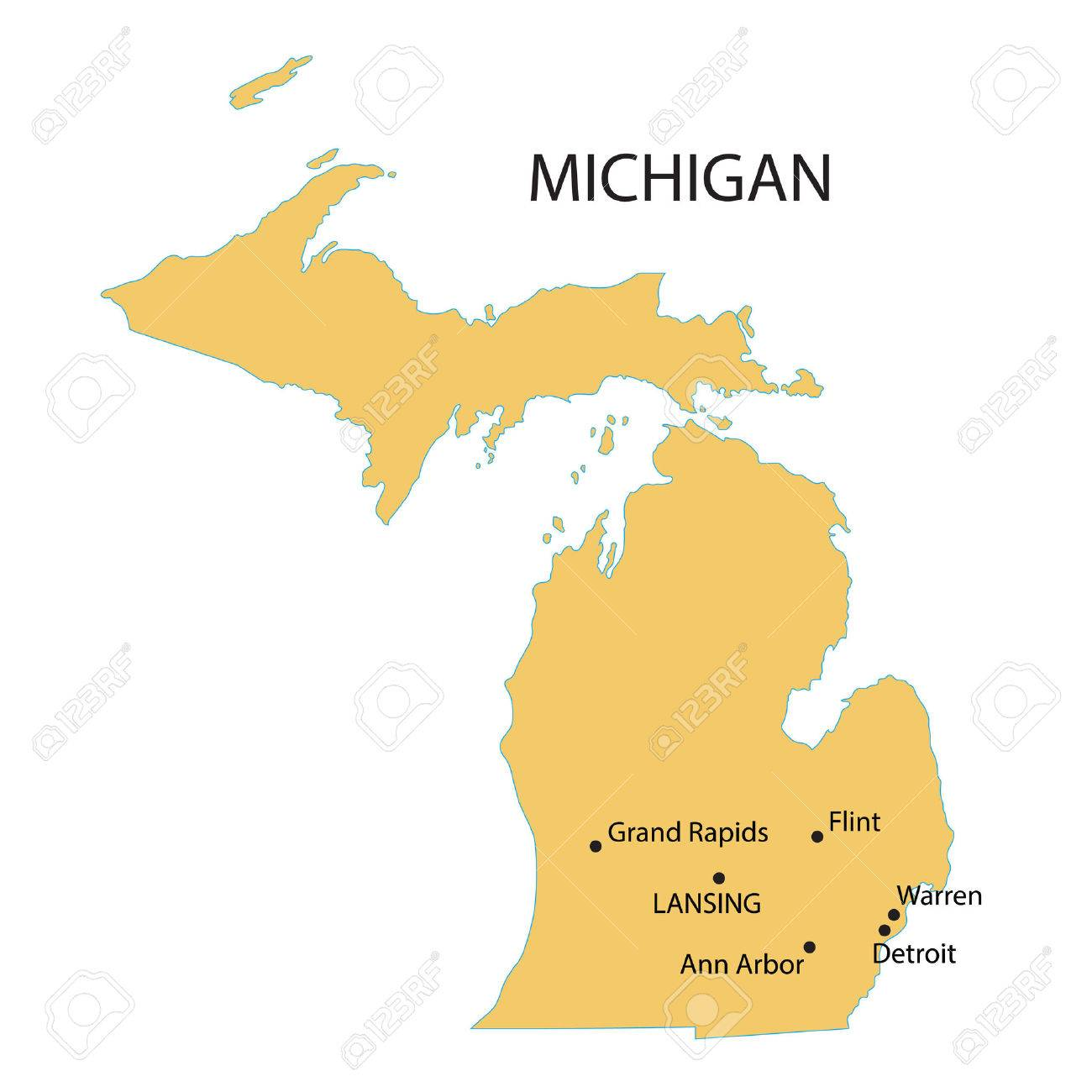 Yellow Map Of Michigan With Indication Of Largest Cities Royalty - Michigan map with cities