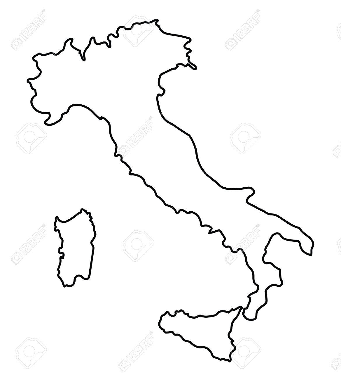 contour noir abstrait de carte de l'Italie Banque d'images - 37371119