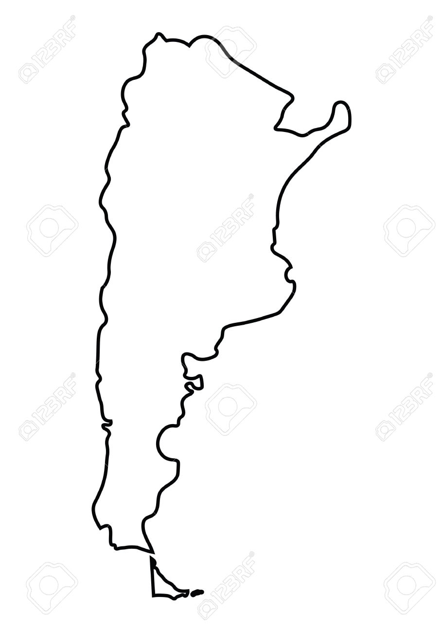 Abstract Black Outline Of Argentina Map Royalty Free Cliparts - Argentina map outline