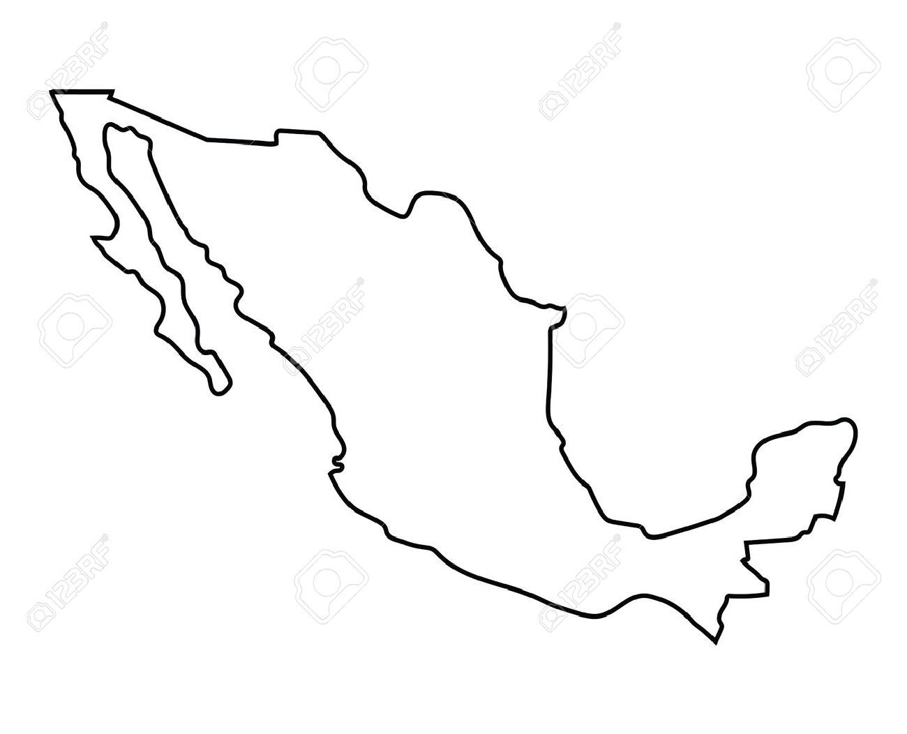 Outline Of Mexico Map Royalty Free Cliparts, Vectors, And Stock