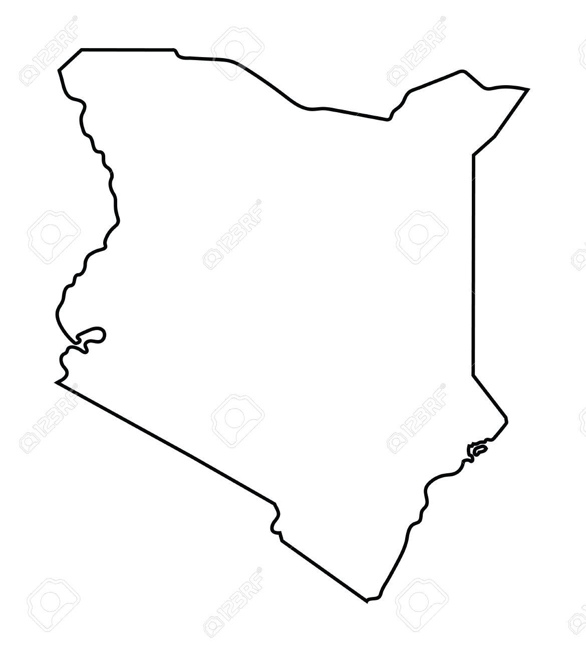 Black Abstract Outline Of Kenya Map Royalty Free Cliparts Vectors - Kenya map