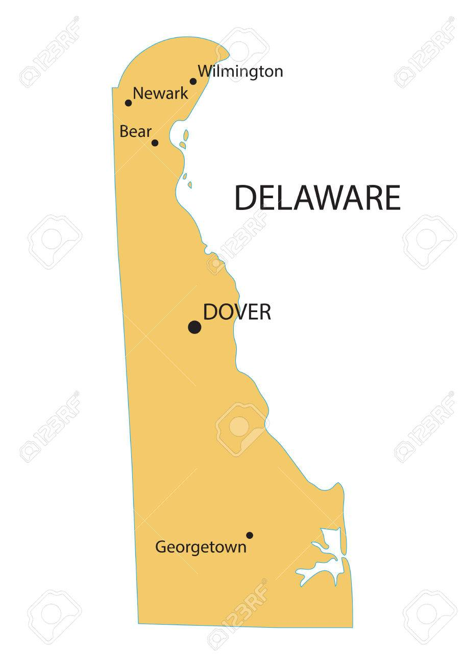 Yellow Map Of Delaware With Indication Of Largest Cities Royalty ...