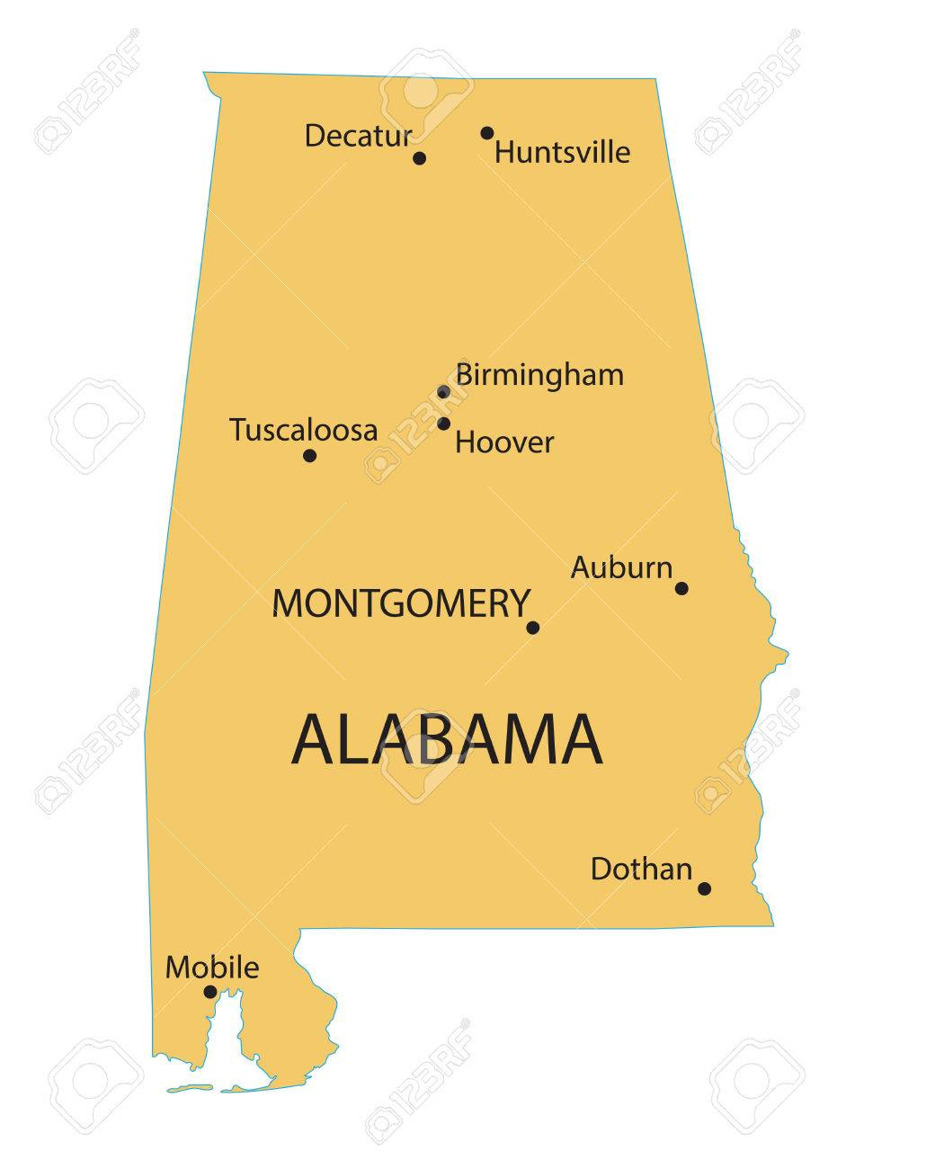 yellow map of Alabama with indication of largest cities