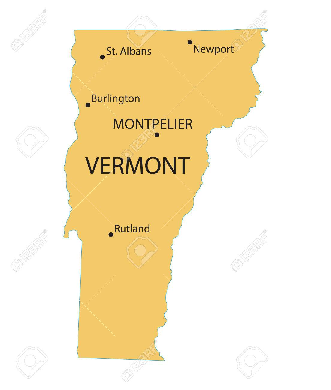 Yellow Map Of Vermont With Indication Of Largest Cities Royalty Free ...