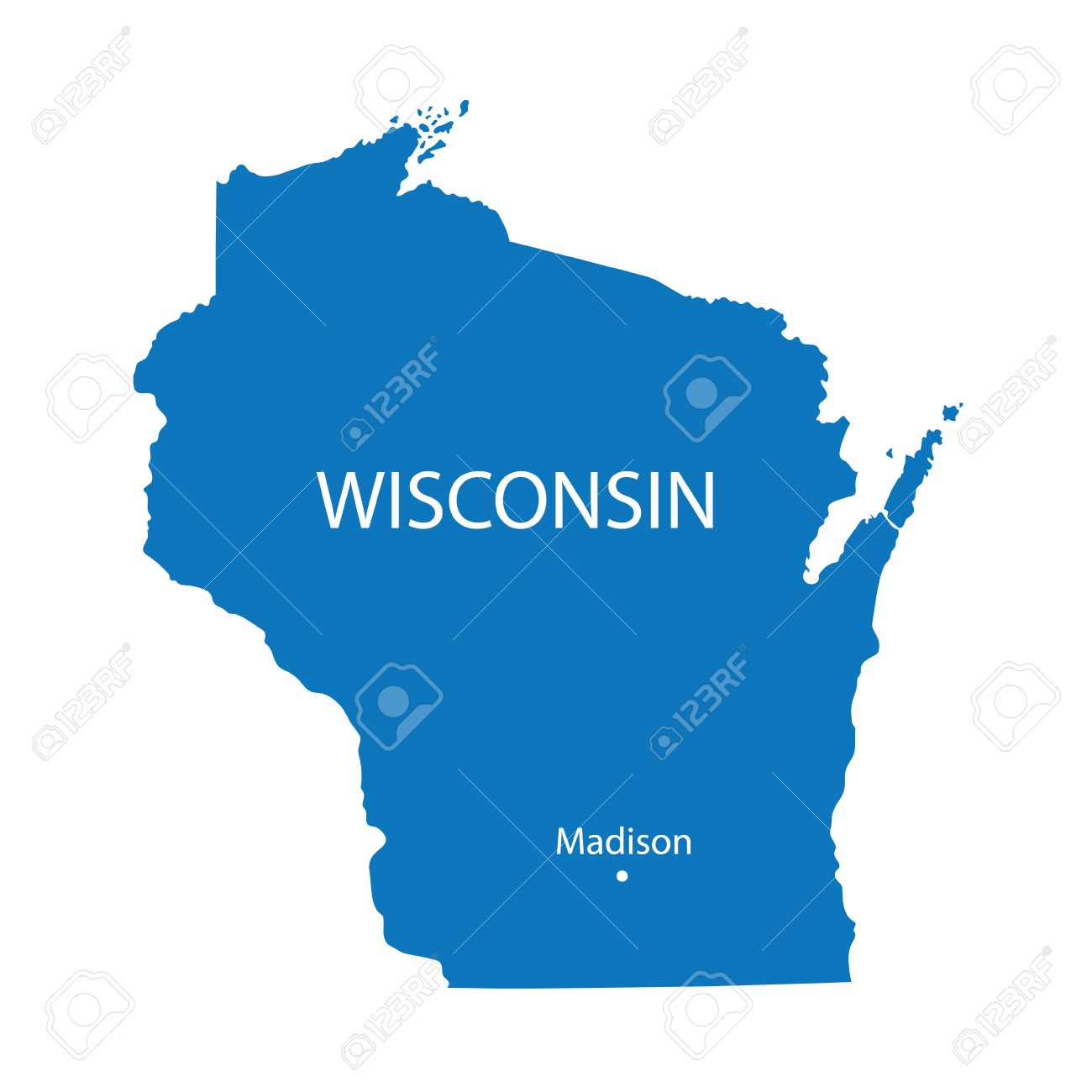 Blue Map Of Wisconsin With Indication Of Madison Royalty Free - Map of wisconsin