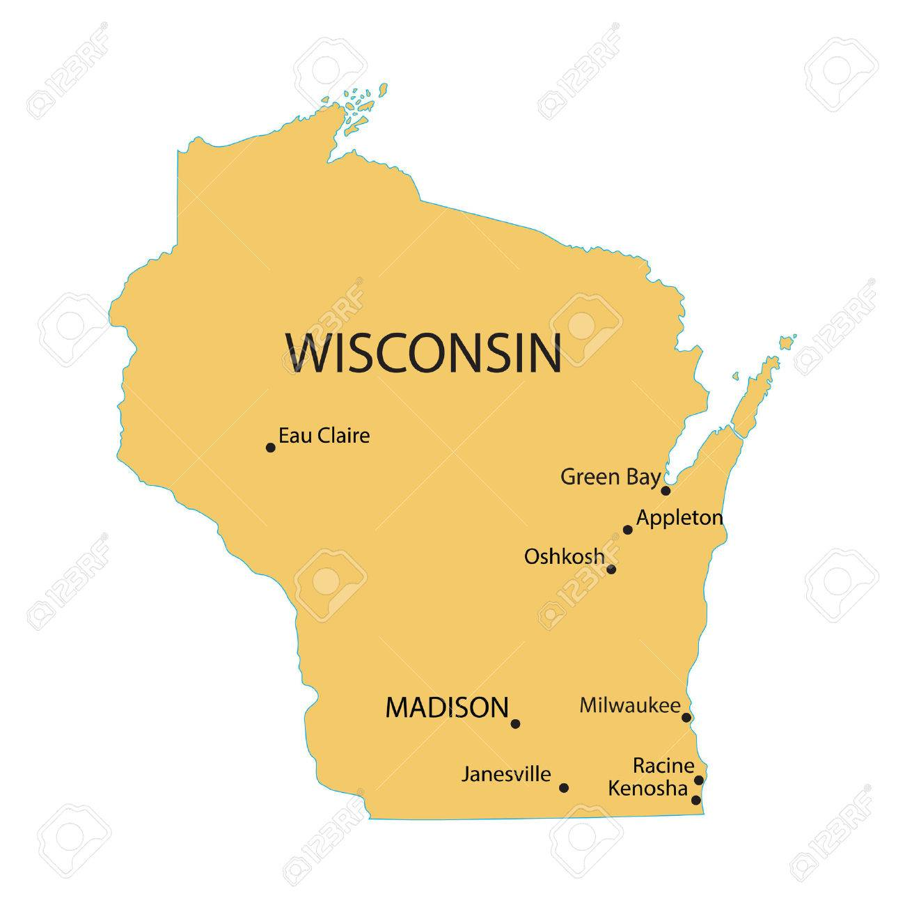 Yellow Map Of Wisconsin With Indication Of Largest Cities Royalty ...