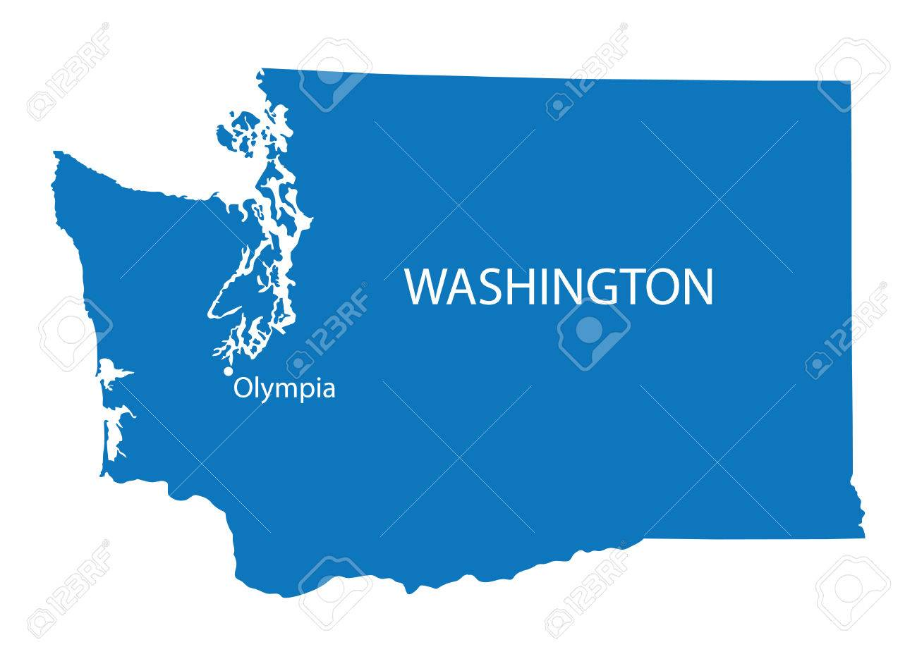 Blue Map Of Washington With Indication Of Olympia Royalty Free ...