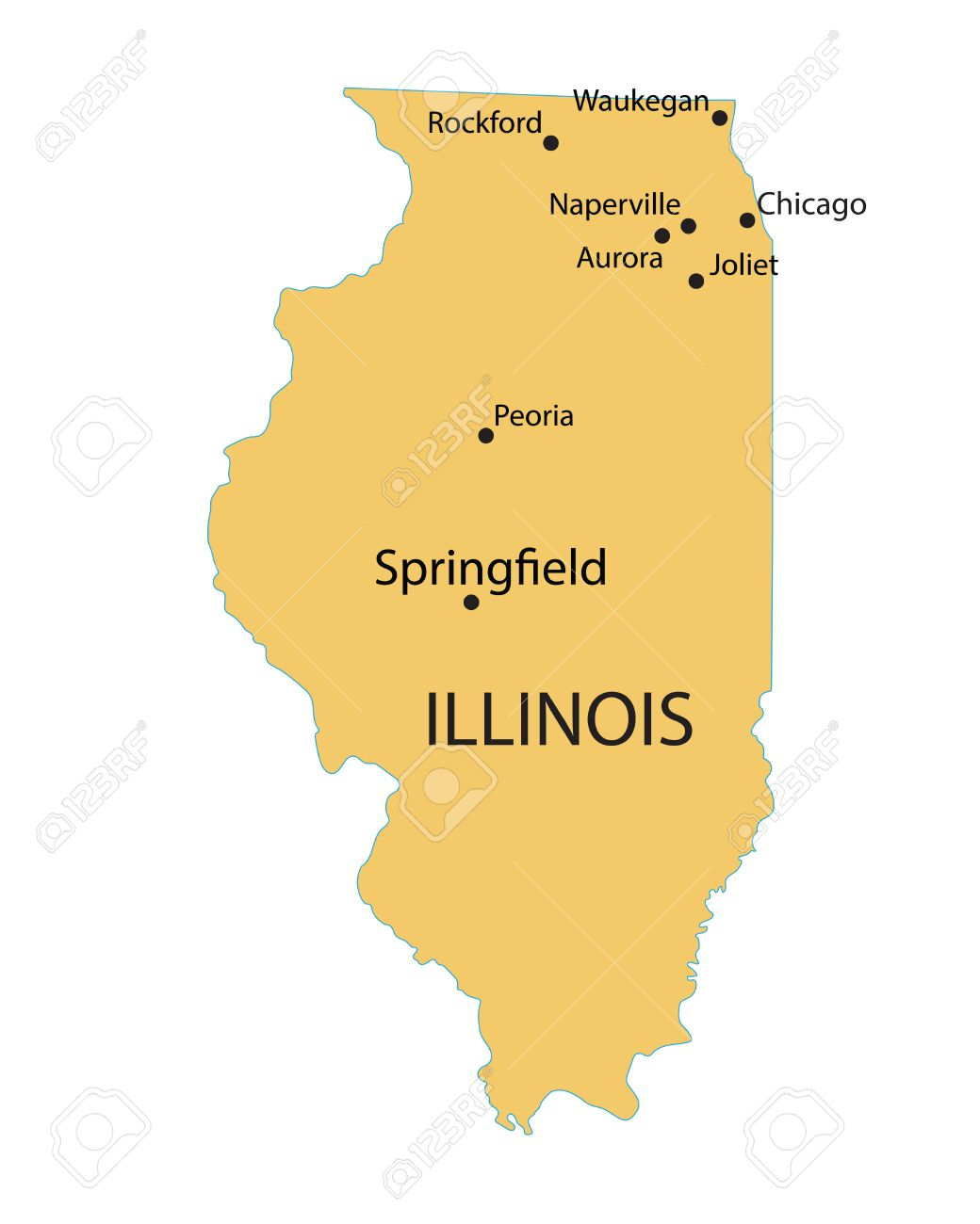 Yellow Map Of Illinois With Indication Of Largest Cities Royalty - Illinois map with cities