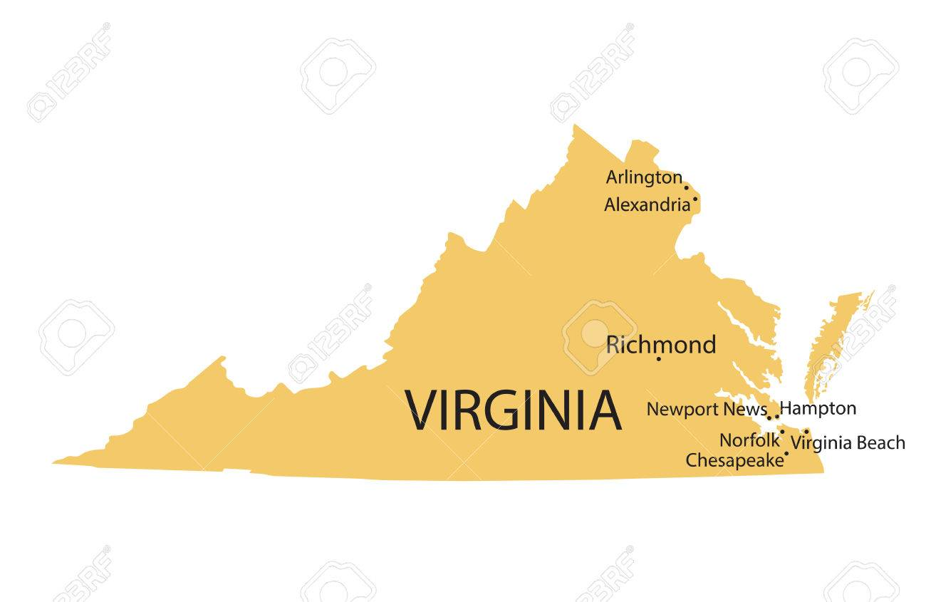 Yellow Map Of Virginia With Indication Of Largest Cities Royalty ...