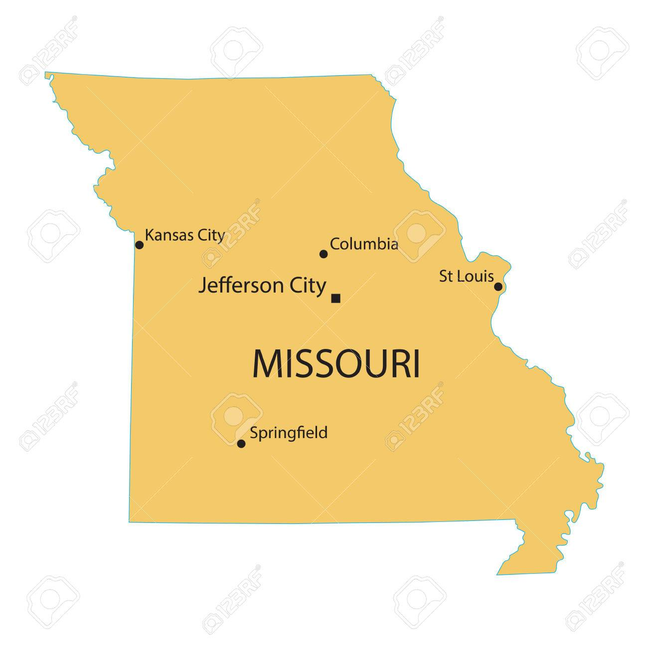 Yellow Map Of Missouri With Indication Of Largest Cities Royalty