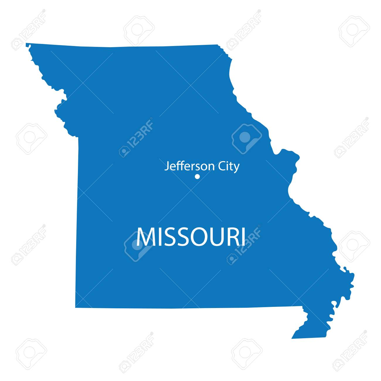 Blue Map Of Missouri With Indication Of Jefferson City Royalty Free ...