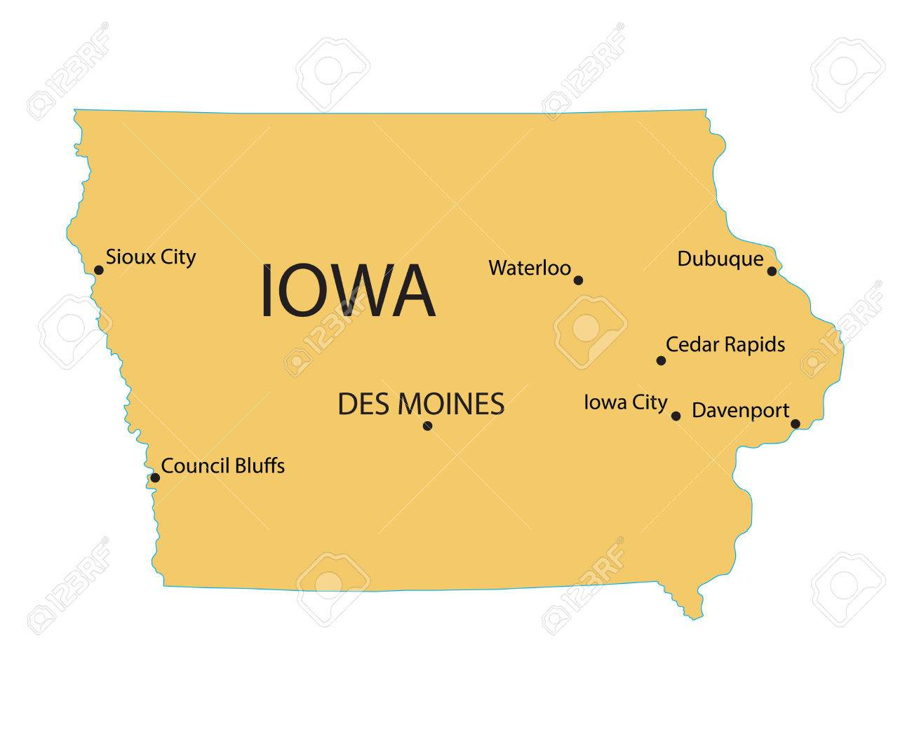 Yellow Map Of Iowa With Indication Of Largest Cities Royalty Free