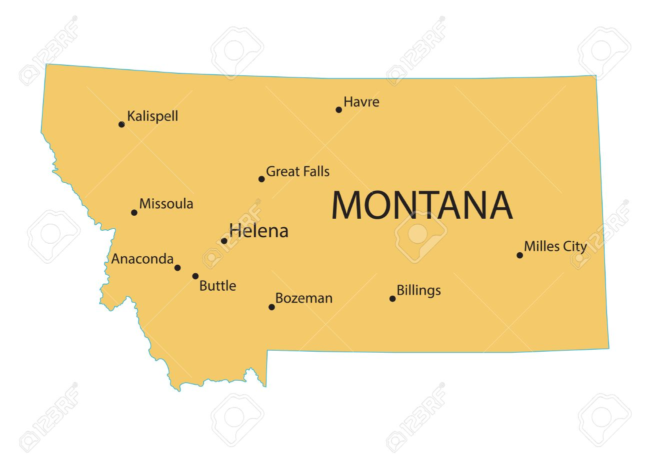 yellow map of Montana with indication of largest cities