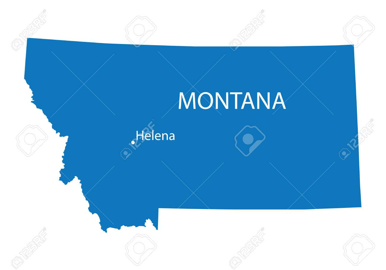 blue map of Montana with indication of Helena