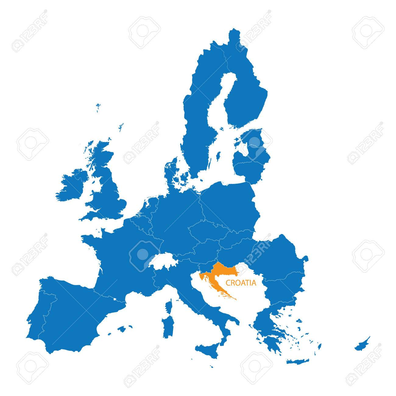Blue Map Of The European Union With Indication Of Croatia Royalty