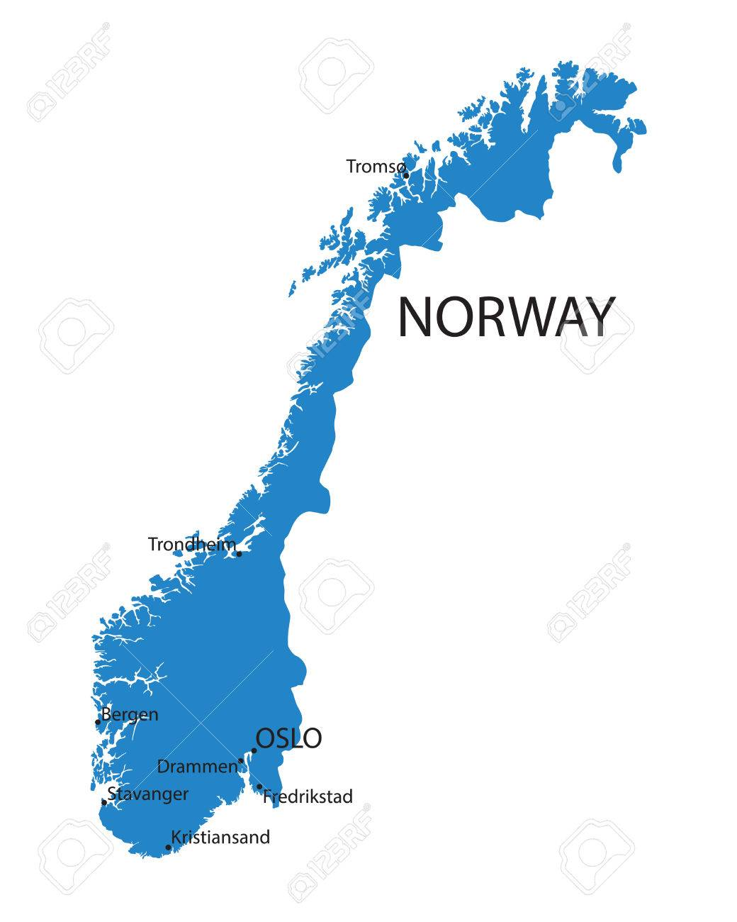 Blue Map Of Norway With Indication Of Largest Cities Royalty Free ...