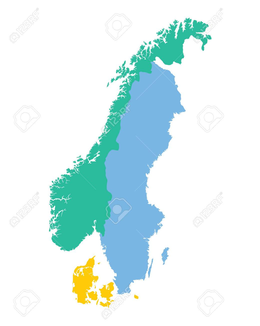 Map Of The Scandinavian Countries Norway Sweden And Denmark - Norway map vector countries