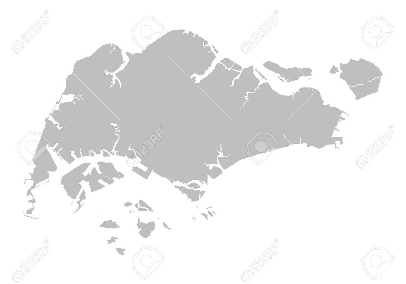 gray map of Singapore - 42483470
