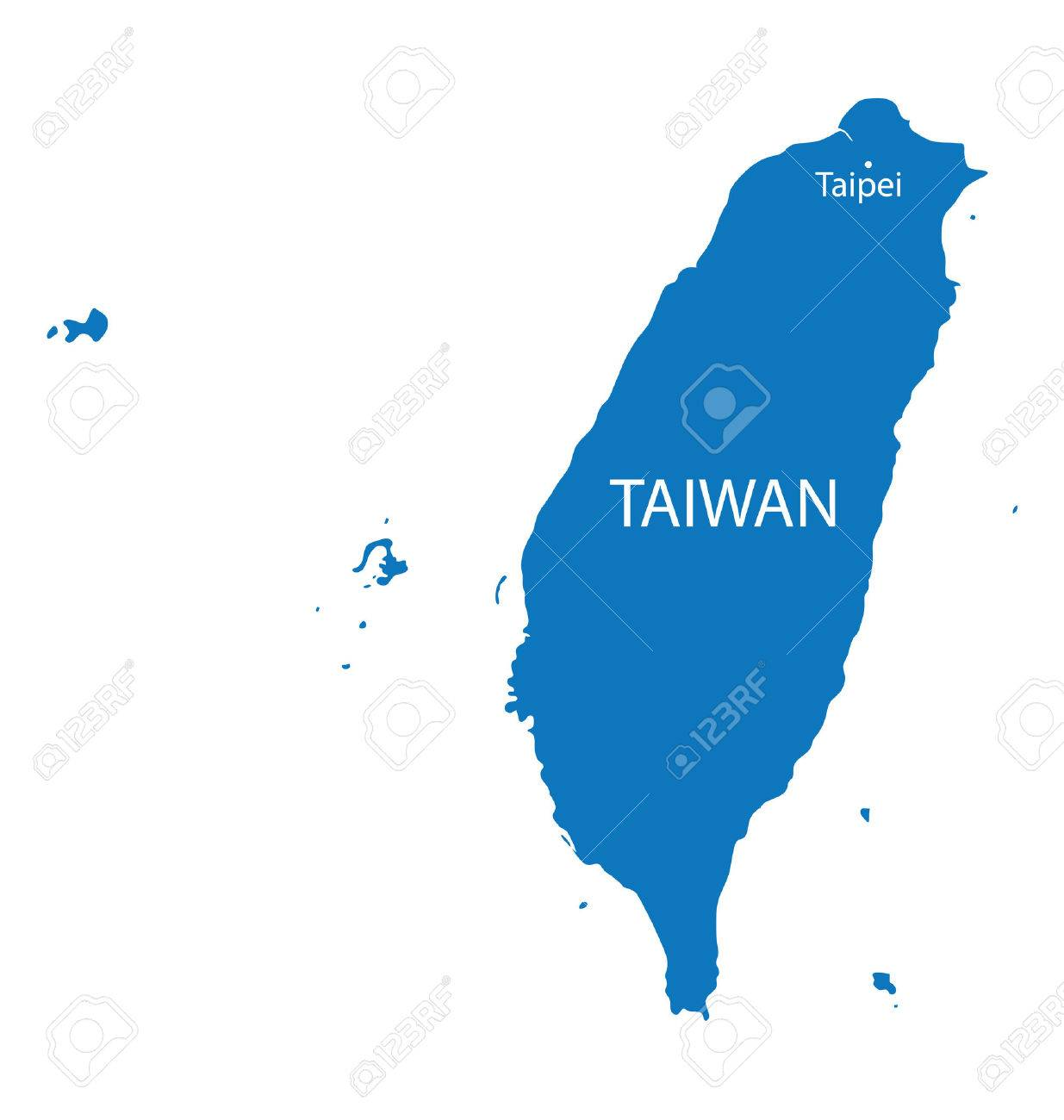 blue map of Taiwan with indication of Taipei - 42506716