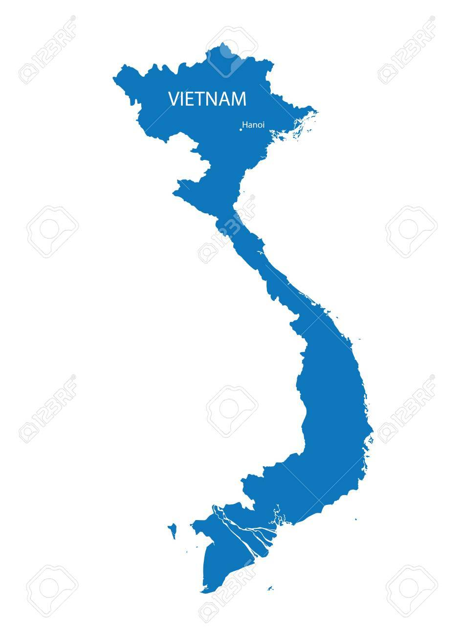 Blue Vector Map Of Vietnam With Indication Of Hanoi Royalty Free ...