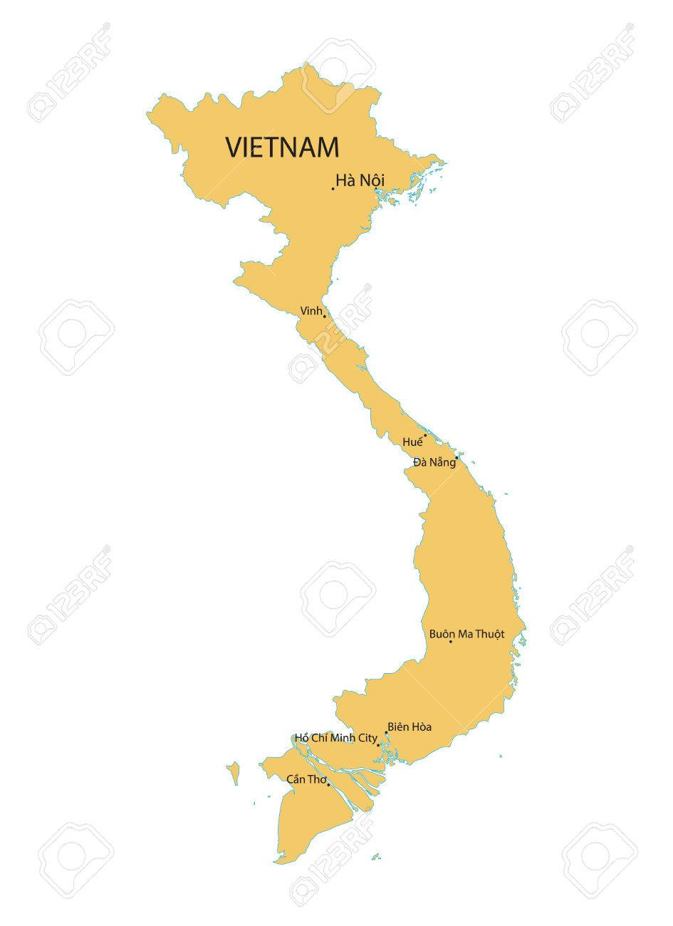 Yellow Vector Map Of Vietnam With Indication Of Largest Cities ...