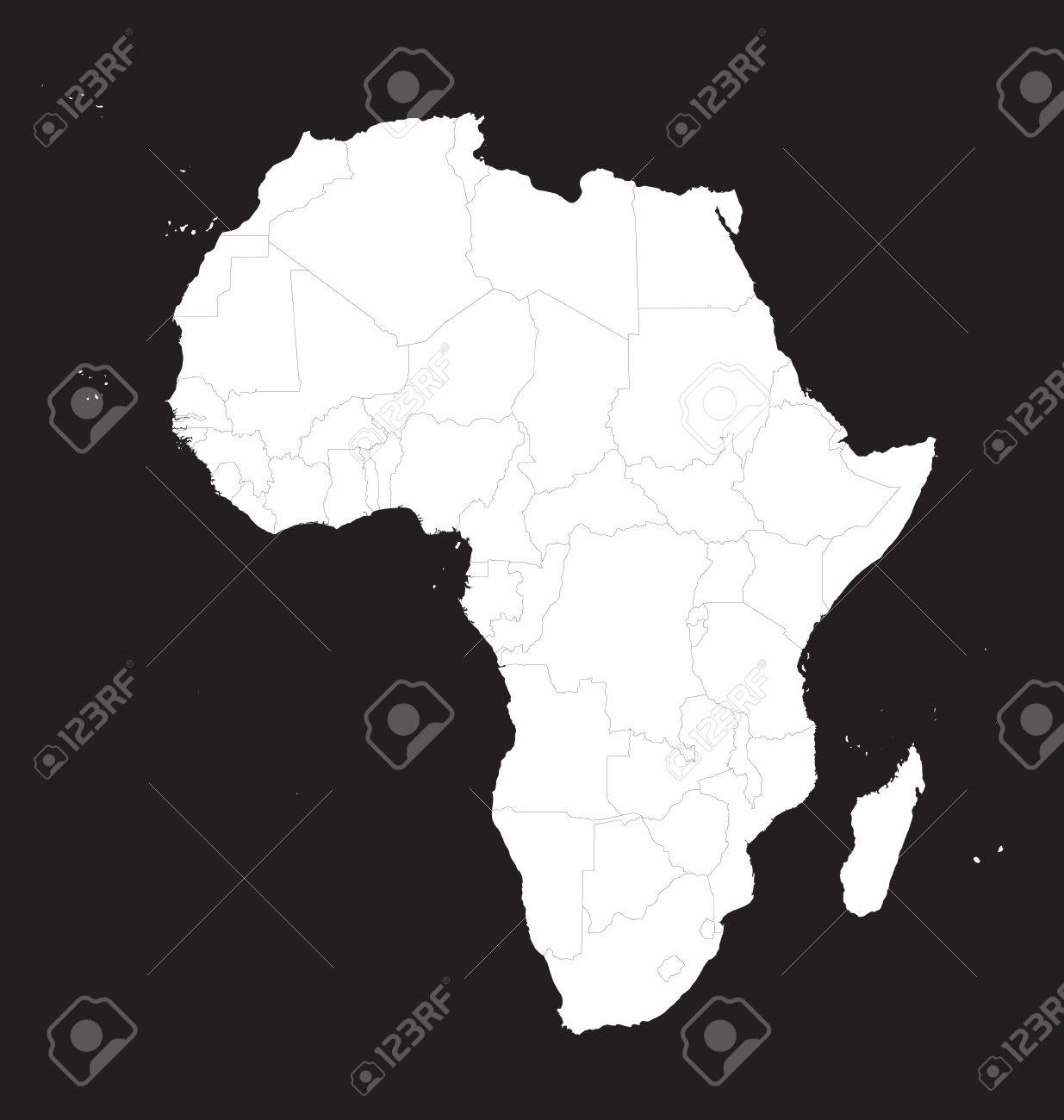 white map of africa with borders of all countries royalty free