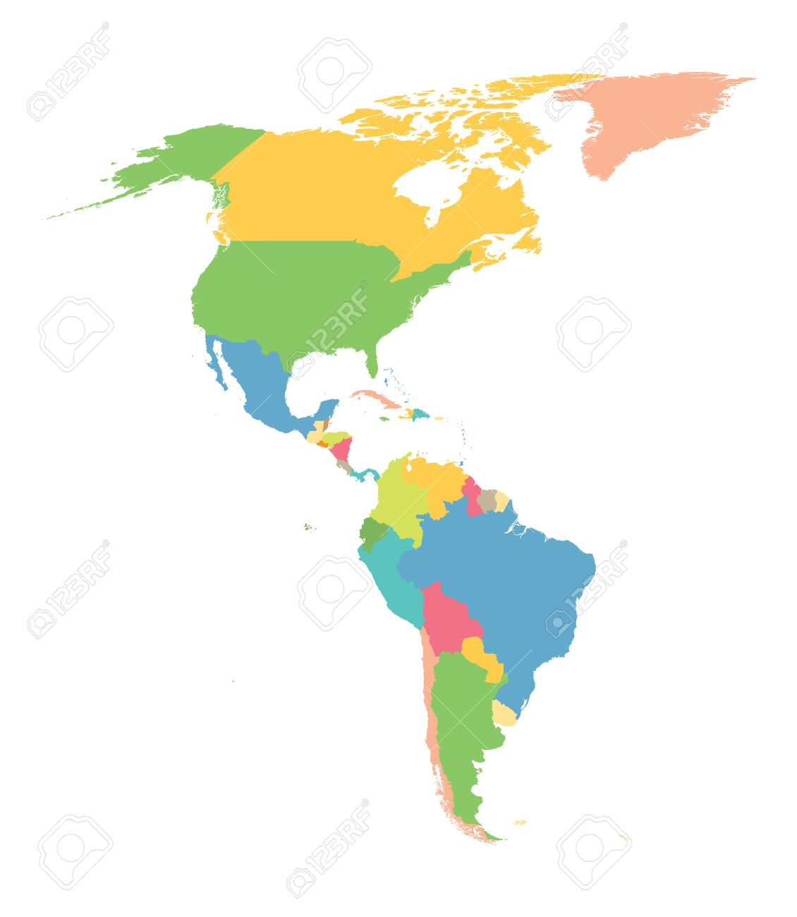colorful map of north and south america royalty free cliparts rh 123rf com