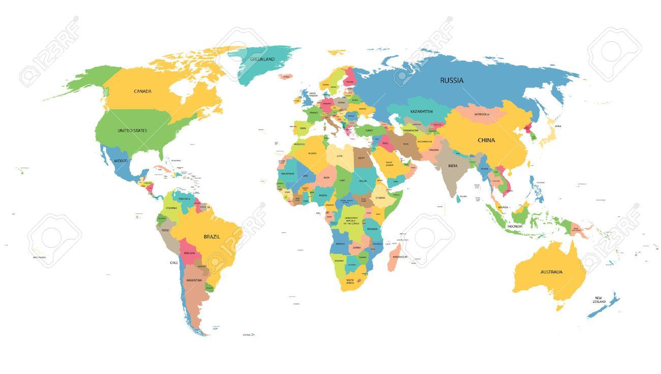 weltkarte mit namen Bunten Weltkarte Mit Namen Aller Länder Lizenzfrei Nutzbare  weltkarte mit namen