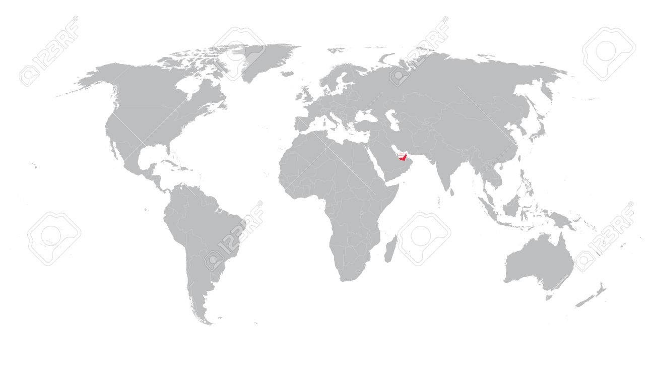 Vector Gray World Map With Indication Of United Arab Emirates ...