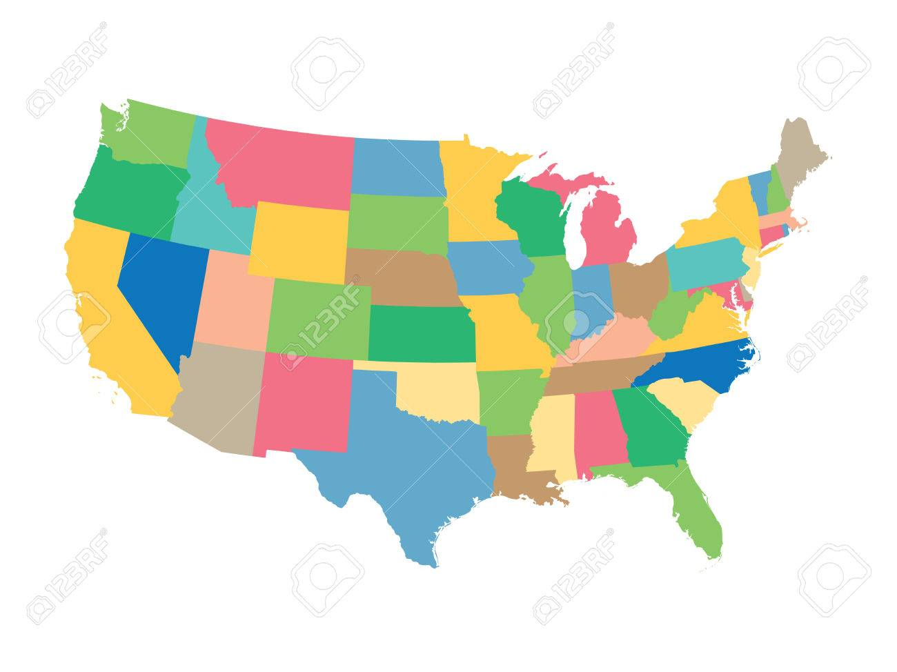colorful map of the United States United