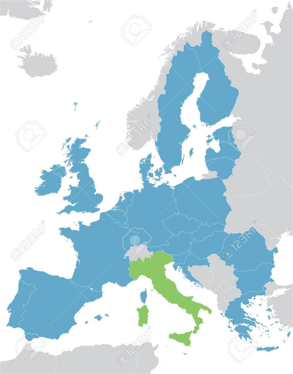 Carte Italie Europe.Carte De L Europe Et L Union Europeenne Avec L Indication De L Italie