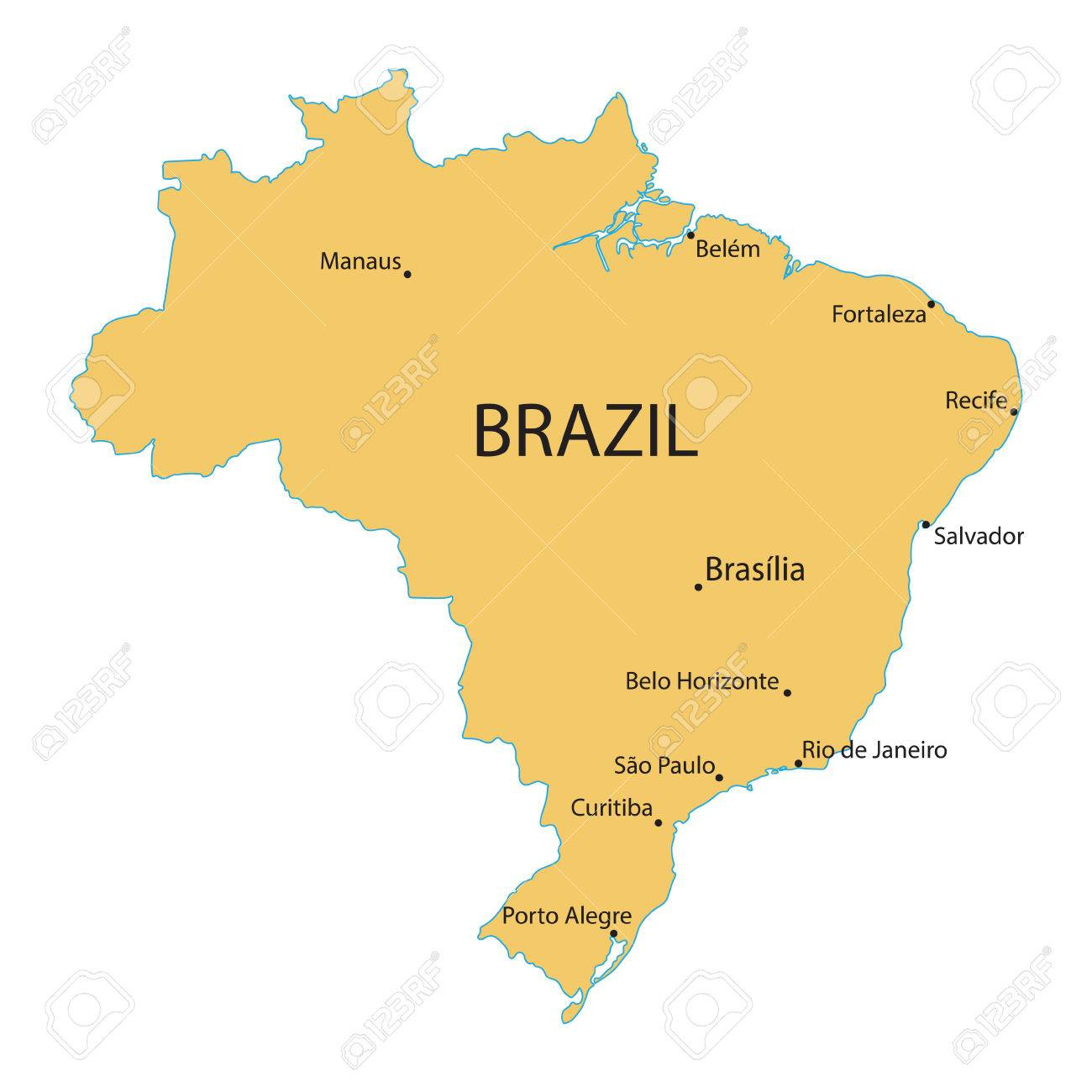 Map Of Brazil With Indication Of Largest Cities Royalty Free ...