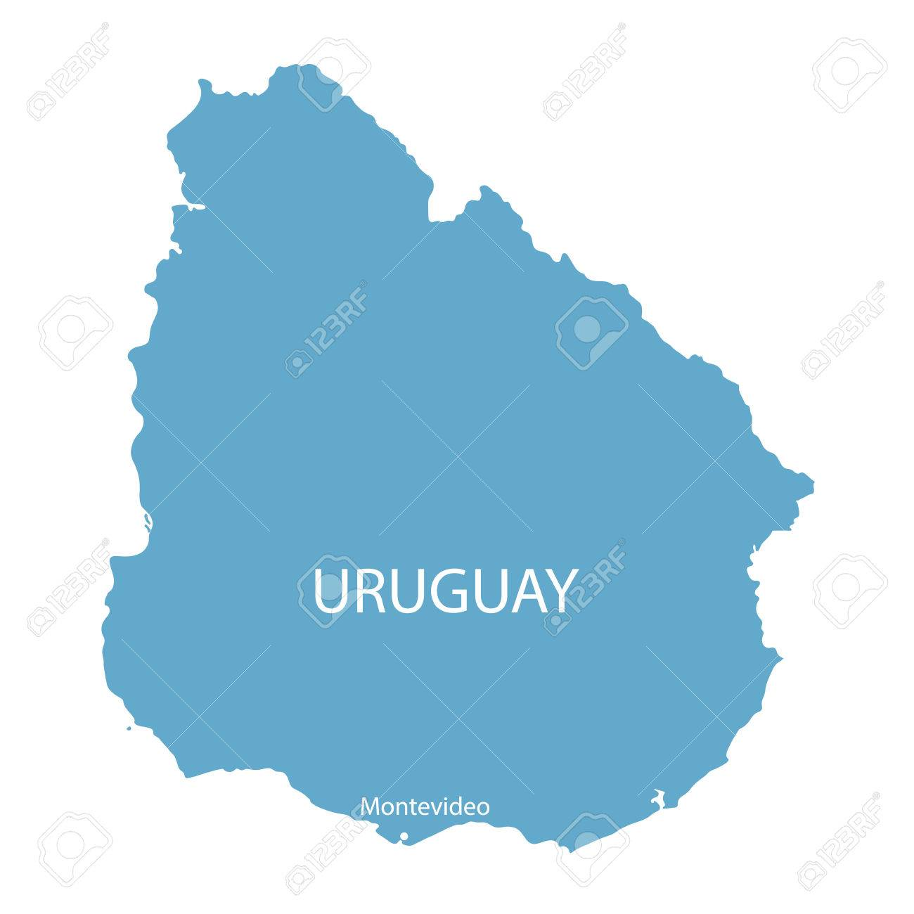 Blue Map Of Uruguay With Indication Of Montevideo Royalty Free