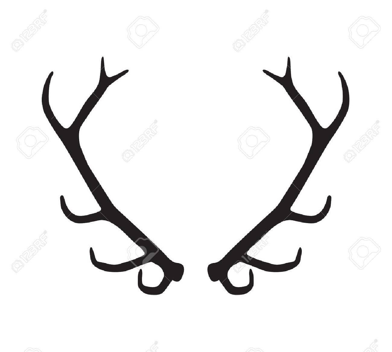 black silhouette of antlers - 45520948