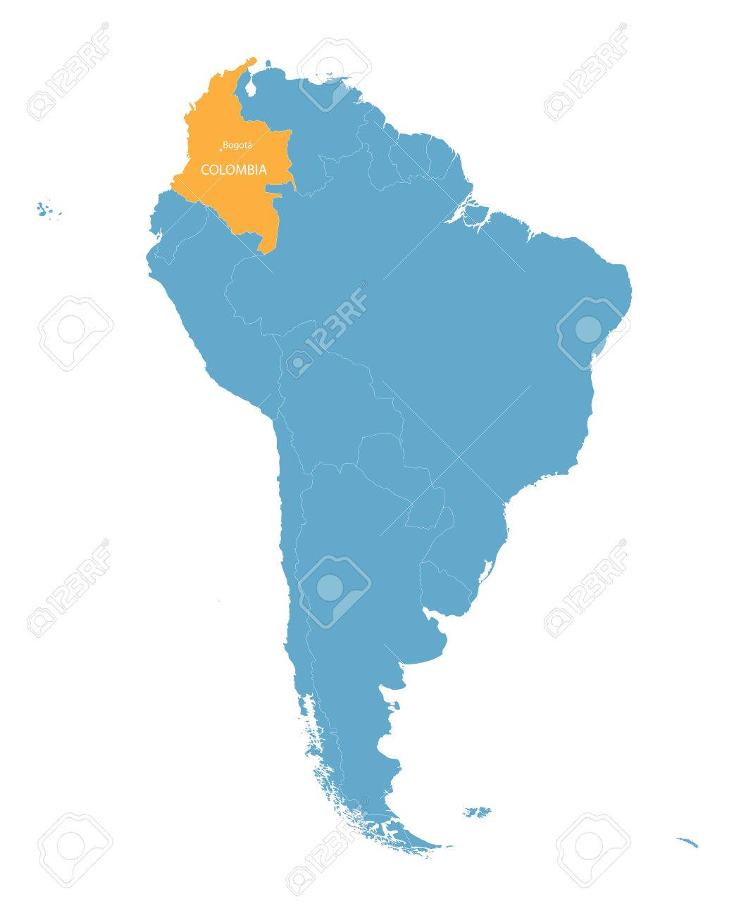 Map Of South America With Indication Of Colombia Royalty Free