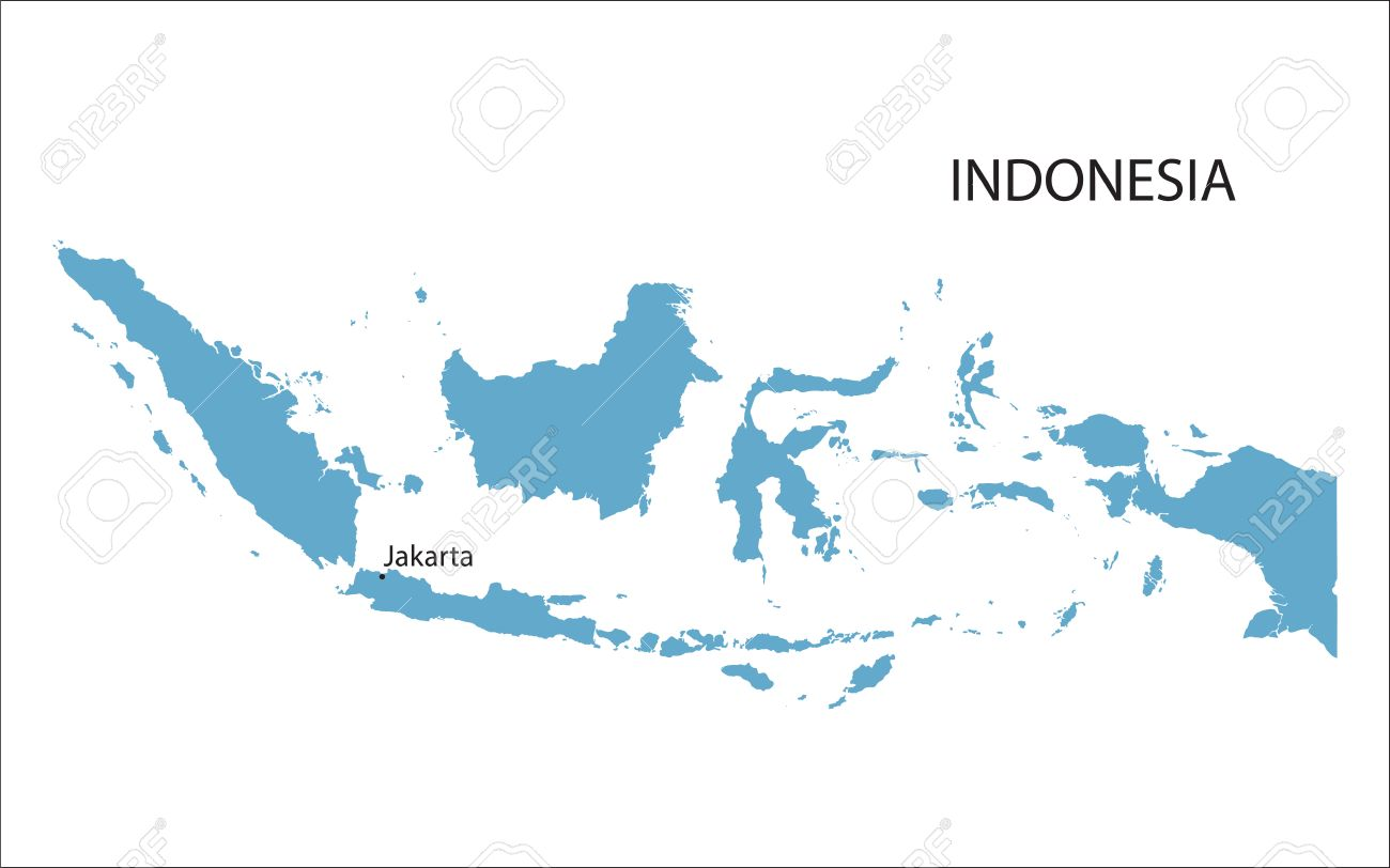 Blue Map Of Indonesia With Indication Of Jakarta Royalty Free