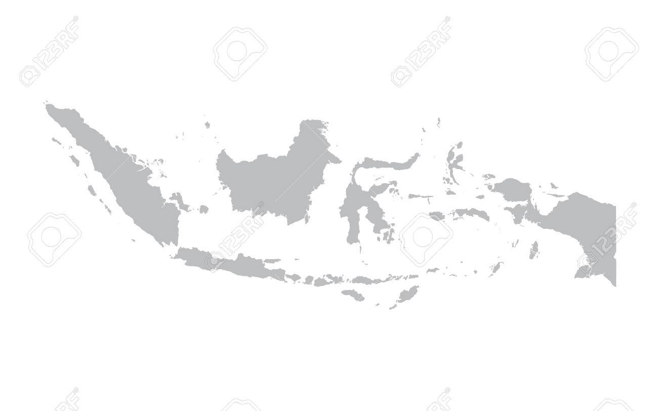 Gray Map Of Indonesia Royalty Free Cliparts, Vectors, And Stock