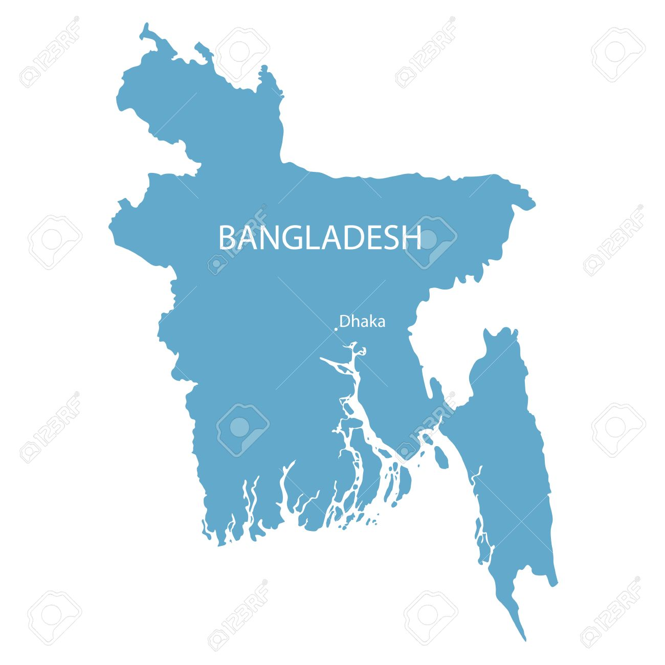 Blue Map Of Bangladesh With Indication Of Dhaka Royalty Free ...