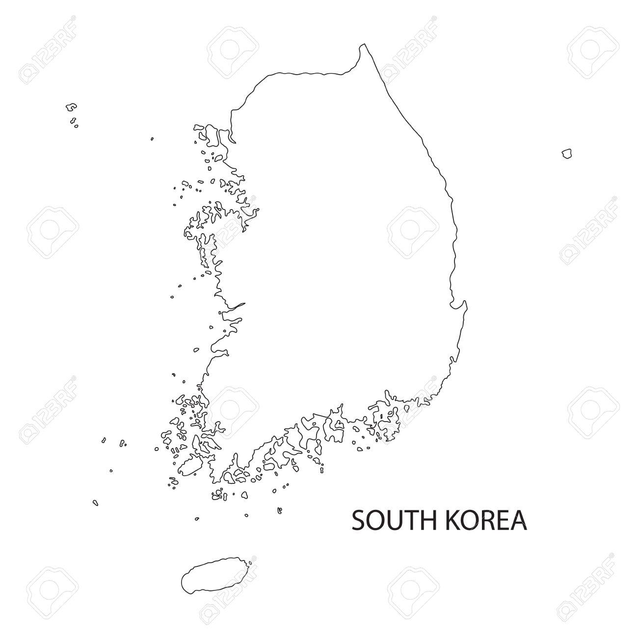 outline map of South Korea - 46076113