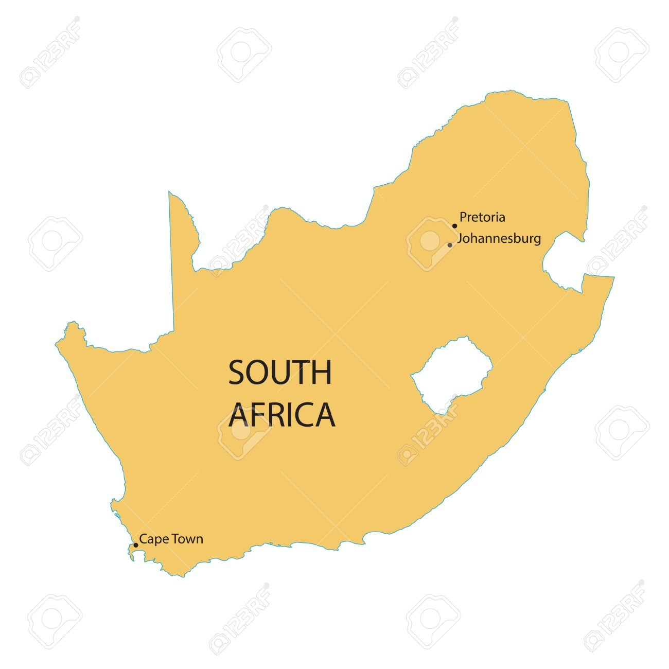 South Africa Major Cities Map.Vector Map Of South Africa With Indication Of Capital Cities